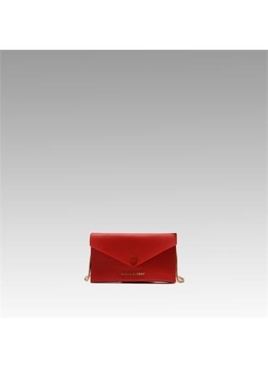 Black Ribbon Çift Taraflı Zincirli Telefon Çantası Kırmızı